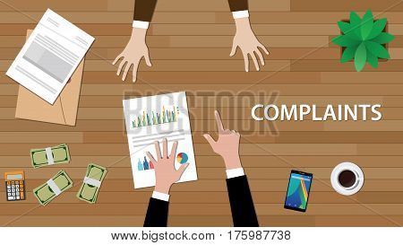 complaints situation illustration with a man pointing to another with paperworks and money on top of table vector