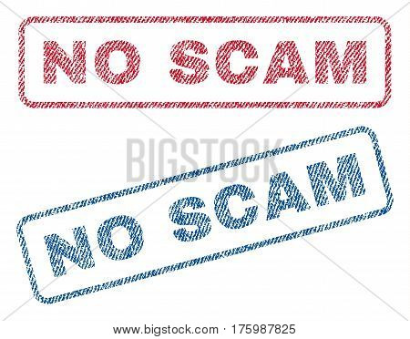 No Scam text textile seal stamp watermarks. Blue, red fabric vectorized texture. Vector caption inside rounded rectangular shape. Rubber sign with fiber textile structure.
