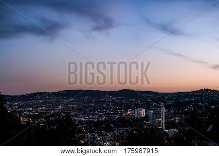 Stuttgart Cityscape Landscape Capital City Baden Wuerttemberg Day Night Sky Buildings Far Tv Tower H