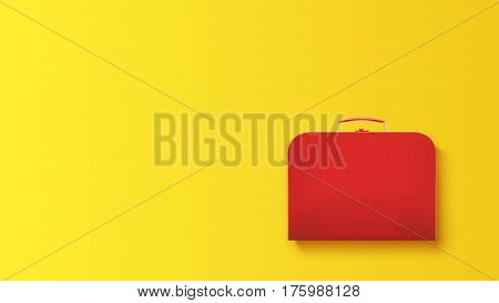 illustration of red leather suitcase with shadow lying on yellow background