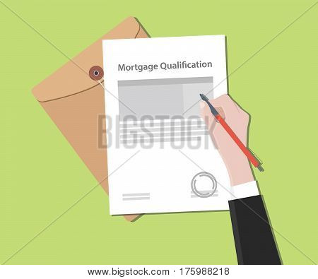 Mortgage qualification concept illustration with stamped document and folder document vector