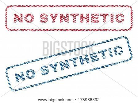 No Synthetic text textile seal stamp watermarks. Blue, red fabric vectorized texture. Vector caption inside rounded rectangular shape. Rubber emblem with fiber textile structure.