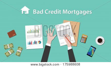 illustration of people writing about bad credit mortgage on a paperwork with money, folder document on top of table vector