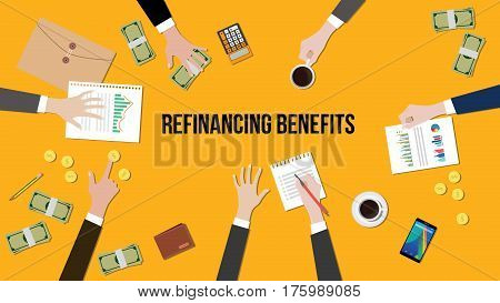 illustration of Refinancing benefits discussion situation in a meeting with paperworks, money and coins on top of table vector