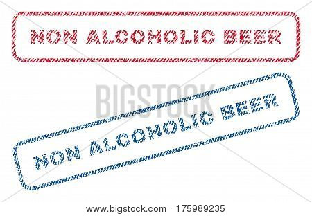 Non Alcoholic Beer text textile seal stamp watermarks. Blue, red fabric vectorized texture. Vector tag inside rounded rectangular shape. Rubber emblem with fiber textile structure.