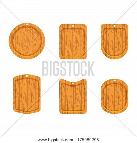 Wooden cutting board icon set of empty wooden cutting boards on white background