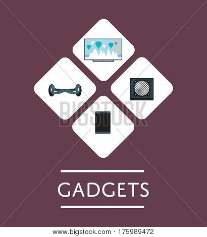 Gadgets store logo or icon set in flat design vector illustration. Electronics market retail design template. LED TV, gyroscooter, acoustic system and tablet computer isolated symbols.