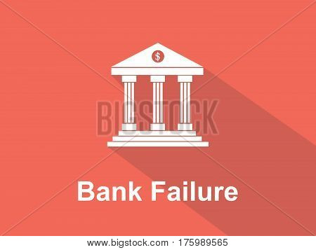 bank failure white text with bank office building illustration and orange background vector