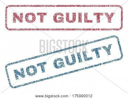 Not Guilty text textile seal stamp watermarks. Blue, red fabric vectorized texture. Vector caption inside rounded rectangular shape. Rubber emblem with fiber textile structure.