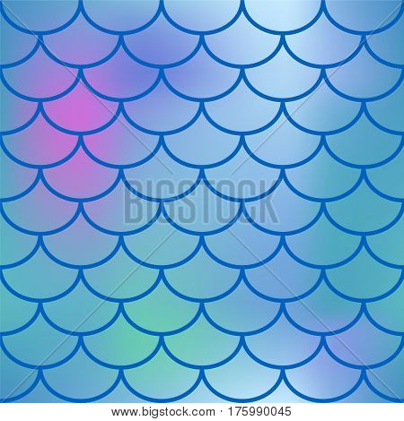 Blue fish scale vector seamless pattern. Gradient mesh background with fishscale ornament. Bright pink blue gradient mesh. Mermaid pattern or decor element. Fish skin or Mermaid tail texture