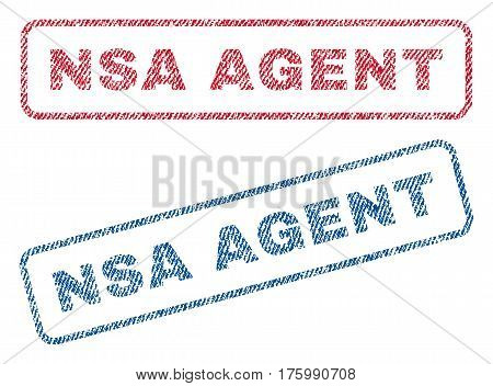 NSA Agent text textile seal stamp watermarks. Blue, red fabric vectorized texture. Vector caption inside rounded rectangular banner. Rubber sticker with fiber textile structure.