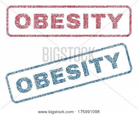 Obesity text textile seal stamp watermarks. Blue, red fabric vectorized texture. Vector caption inside rounded rectangular banner. Rubber sticker with fiber textile structure.