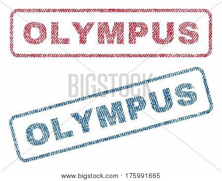 Olympus text textile seal stamp watermarks. Blue, red fabric vectorized texture. Vector caption inside rounded rectangular banner. Rubber sign with fiber textile structure.