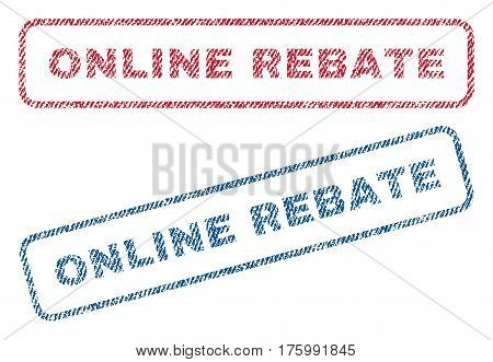 Online Rebate text textile seal stamp watermarks. Blue, red fabric vectorized texture. Vector tag inside rounded rectangular banner. Rubber emblem with fiber textile structure.