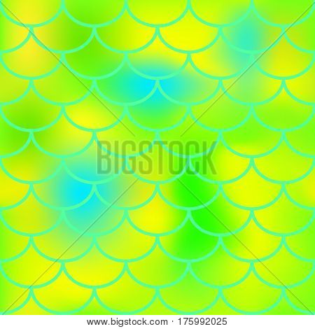 Yellow green fish skin vector pattern for background. Bright fish scale seamless pattern. Gradient mesh background with fishscale ornament. Vibrant blue and lime color mix. Golden fish tail ornament