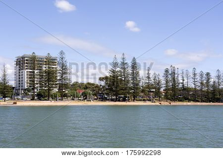 View of the ocean front seen from the jetty in Redcliffe Australia