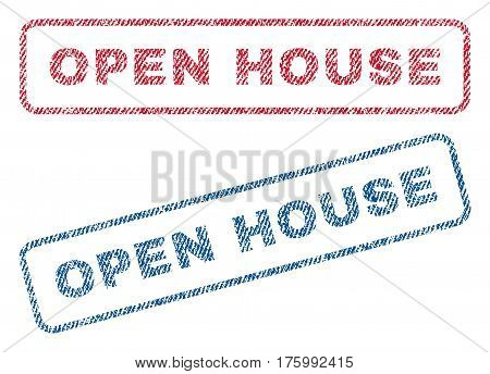 Open House text textile seal stamp watermarks. Blue, red fabric vectorized texture. Vector caption inside rounded rectangular shape. Rubber emblem with fiber textile structure.