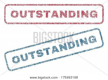 Outstanding text textile seal stamp watermarks. Blue, red fabric vectorized texture. Vector tag inside rounded rectangular banner. Rubber sign with fiber textile structure.