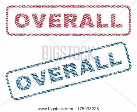 Overall text textile seal stamp watermarks. Blue, red fabric vectorized texture. Vector tag inside rounded rectangular shape. Rubber emblem with fiber textile structure.