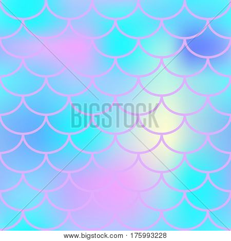Blue fish skin with scale pattern. Mermaid vector background. Fish scale seamless pattern in aqua blue color. Candy colored mermaid tail backdrop. Marshmallow color mix. Marine seamless pattern tile