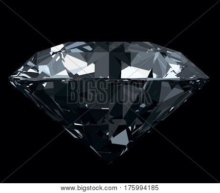Dazzling, classic, photo realistic diamond isolated on black background. 3D illustration.