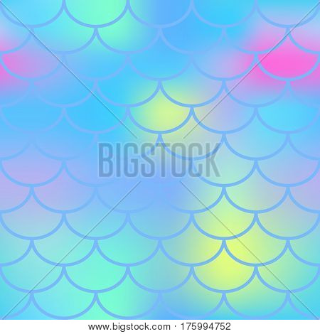 Aqua blue fish skin with scale pattern. Mermaid vector background. Fish scale seamless pattern in blue color. Candy colored mermaid tail backdrop. Marshmallow color mix. Marine seamless pattern tile
