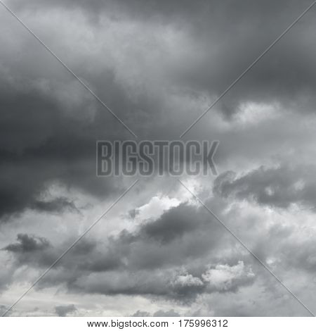 Dramatic cloudy sky. Clouds flying over horizon cloudscape.