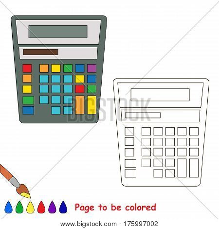 Calculator to be colored, the coloring book to educate preschool kids with easy kid educational gaming and primary education of simple game level.