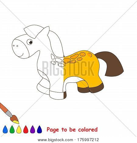 Toy Horse to be colored, the coloring book to educate preschool kids with easy kid educational gaming and primary education of simple game level, colorless half to be colored by sample half.