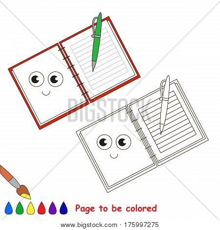 Copybook, diary to be colored, the coloring book to educate preschool kids with easy kid educational gaming and primary education of simple game level.