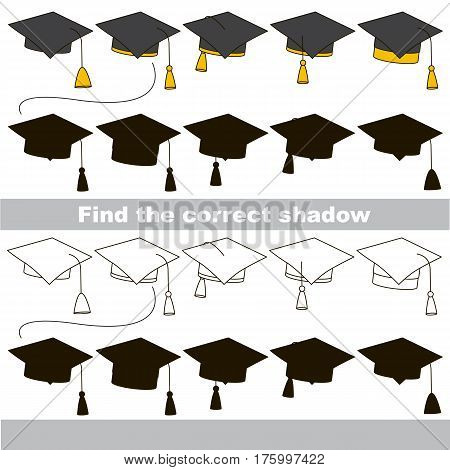 Hat Set set to find the correct shadow, the matching educational game to compare and connect objects and their true shadows, kid logic game with simple game level for preschool kids education.