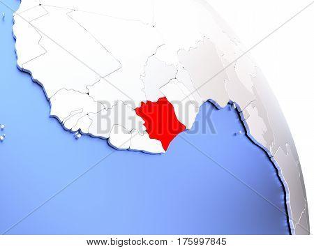 Ivory Coast On Elegant Globe