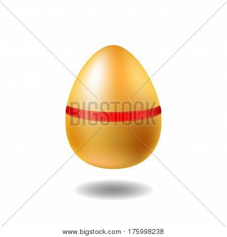 Golden egg with red ribbon and shadow. Chicken egg vector illustration on white background. Happy Easter present. Easter egg with precious metallic surface. Spring holiday banner design element