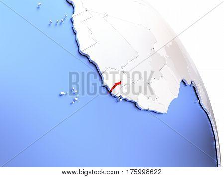 Gambia On Elegant Globe