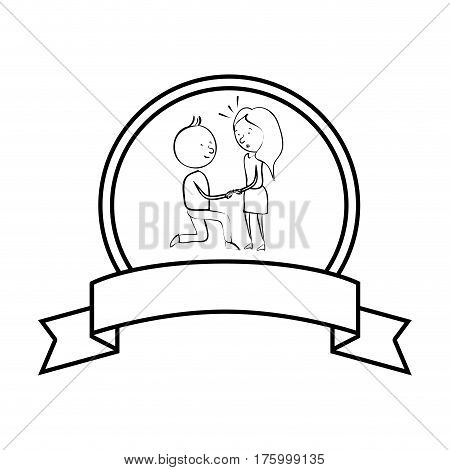 just married couple character card vector illustration design