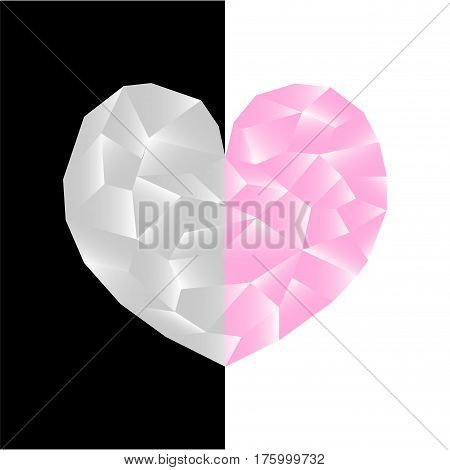 Pink heart on two-sided black and white background. Polygonal heart vector illustration. Two sides of love concept image. Square Valentine Day card or banner template. Low Poly Heart shiny diamond