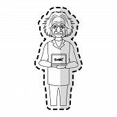albert einstein icon image sticker vector illustration design poster