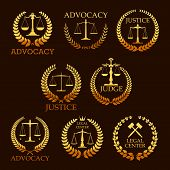 Justice and advocacy vector gold icons. Heraldic emblems of law scales and judge gavel, laurel wreath. Golden signs for legal center, advocate or court lawyer and judicial right attorney poster