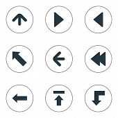Vector Illustration Set Of Simple Indicator Icons. Elements Left Landmark , Upward Direction , Rearward Synonyms Transfer, Backward And Decline. poster