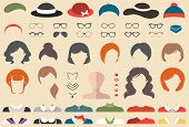 Big vector set of dress up constructor with different woman haircuts, glasses, lips, wear, jewellery in trendy flat style. Female faces icon creator. poster