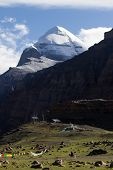 Kailash - the holiest mountain of Tibet. Object of pilgrimage of buddhist, hindu, jains and adepts of bon religion. Home of the Lord Shiva. poster
