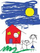 A vector child like drawing of a happy family in front of their house and a blue sky poster