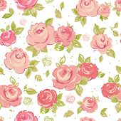Elegance Seamless wallpaper pattern with of pink roses on floral background, vector illustration poster
