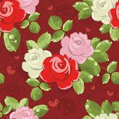 Seamless wallpaper pattern with of bouquet roses on background with butterfly, vector illustration poster