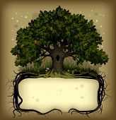 Raster version of old-fashioned banner with fairy-tale rooted oak tree poster