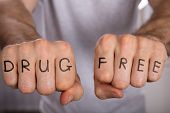 Close-up Of A Person Showing Drug Free Concept On Fist poster