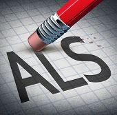 Amyotrophic laterals sclerosis or ALS as a neurodegenerative disease therapy and cure concept as a pencil eraser erasing the ailment as a metaphor for hope as a 3D illustration. poster