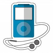 blue mp3 player headphones vector illustration eps 10 poster