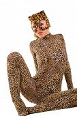 Hot beautiful model in latex leopardess costume poster