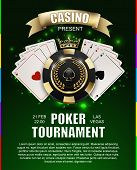 VIP poker luxury black and golden chip golden crown with ace card vector casino poster concept. Royal poker club tournament banner with laurel wreath ribbon spade light effect on green background poster